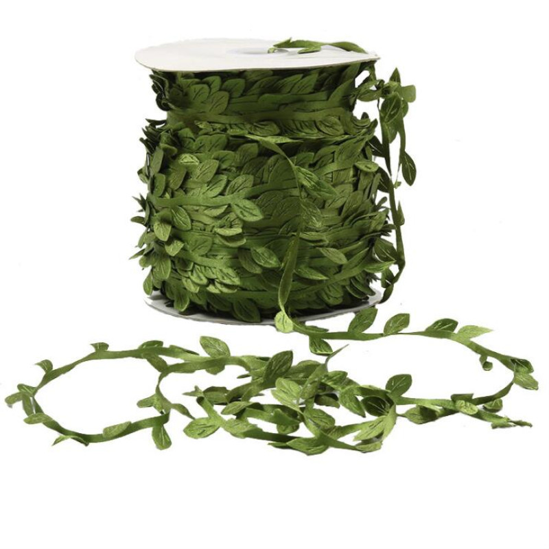 10 Meter Silk Leaf-Shaped Handmake Artificial green Leaves Trim Ribbon For DIY Craft Wedding Decoration 7LS90(China)
