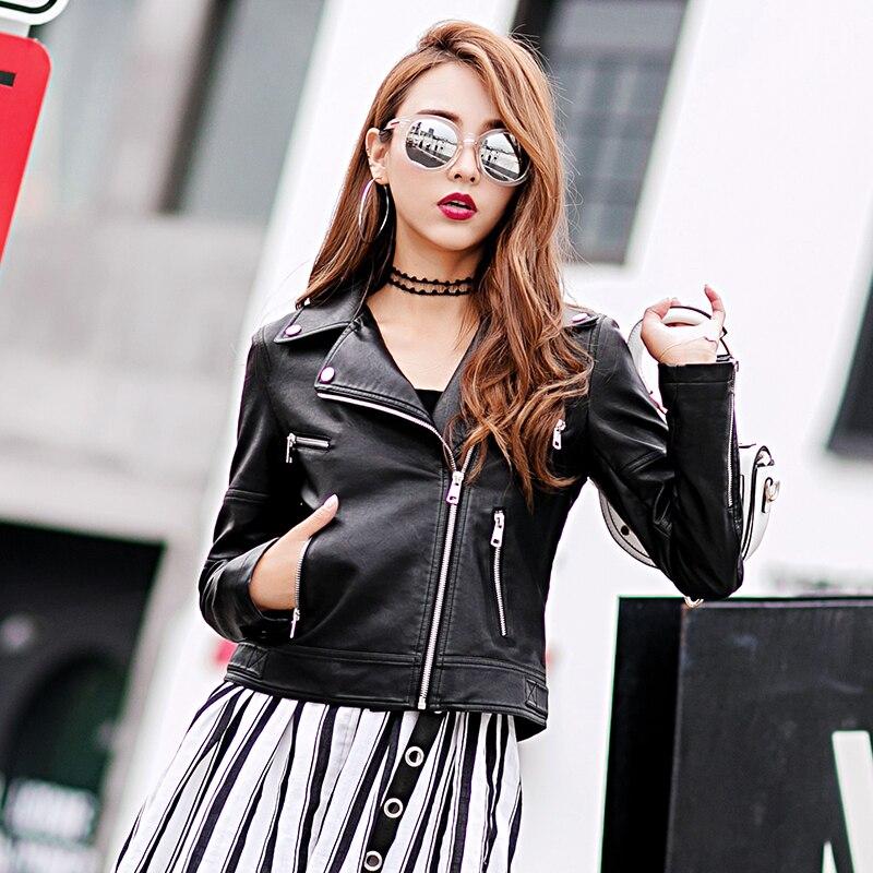 Vestes Faux Élégant Black Impression Biker Punk Slim Noir Veste Pu En Marques Chaude Haute Court Cuir Nouvelles Femmes Moto Automne Xw1PnxvnH
