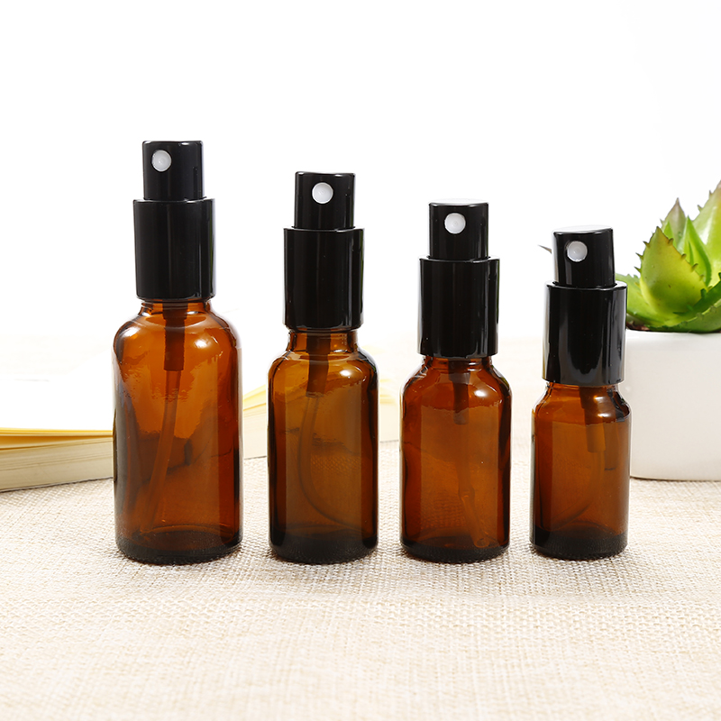 1PC 15-50ML Portable Amber Glass Essential Oil Spray Bottles Mist Sprayer Container Travel Refillable Bottle Transparent Brown