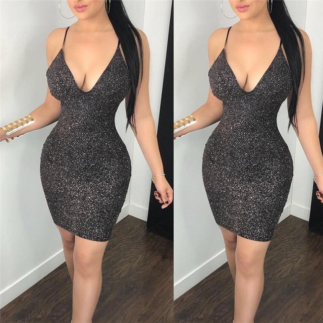 1ee16b004e US $5.8 12% OFF|Aliexpress.com : Buy New Fashion Sexy Women Bodycon Mini  Dress Sleeveless V Neck Summer Hot Club Wear Short Mini Dress Party Pencil  ...