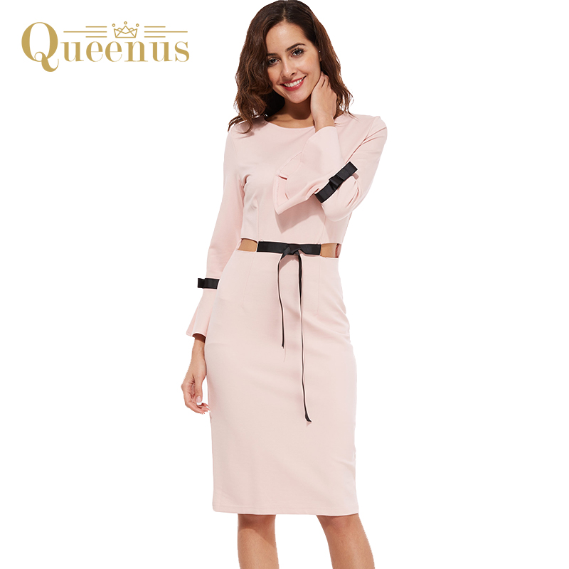 Queenus 2017 Women Dress Autumn Mid Calf Hollow Out Contrast Bow Knot Flare Sleeve Round Neck Vintage Elegant Pink Women Dresses