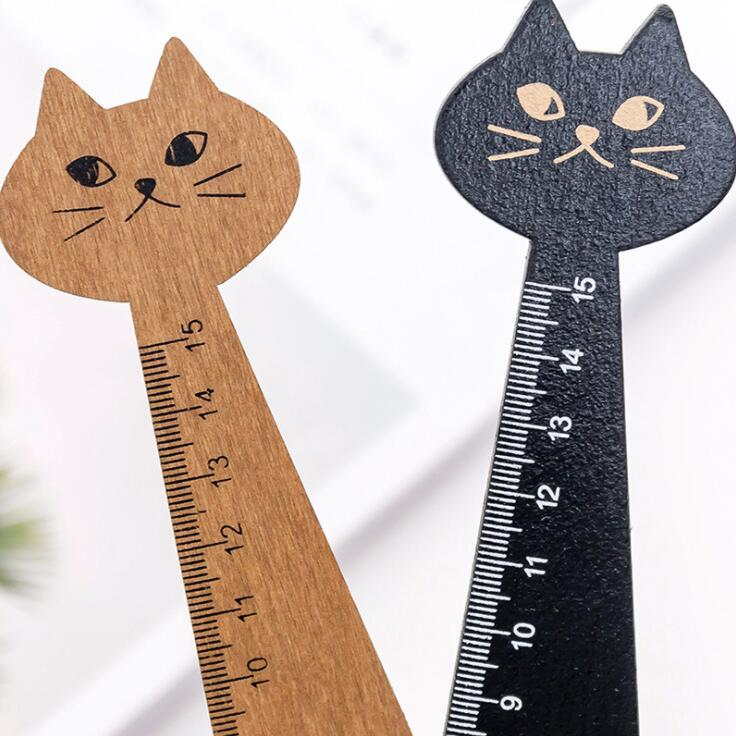 1PC New 15cm Animal Cat Shaped Wooden Straight Ruler 3