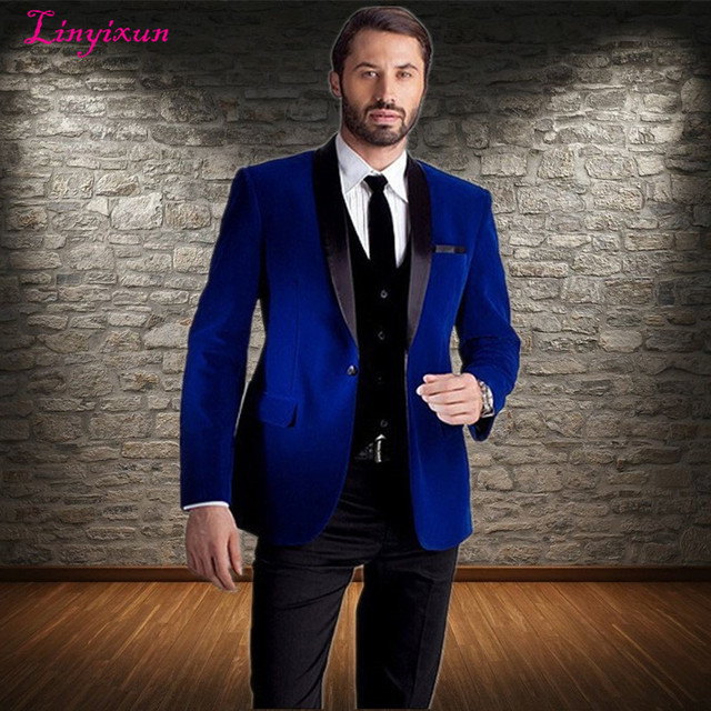 Linyixun 2018 New Fashion Royal Blue Velvet Jacket Groom Tuxedos ...
