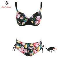 Ariel Sarah Brand Floral Plus Size Bikini Set Halter Push Up Biquini Bandage Swimsuit Women Swimwear