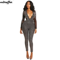 Deep V Neck Bandage Jumpsuits For Women Glitter Bodycon Bodysuit Sparkly Mesh Backless Sexy One Piece Outfits Long Pants Club