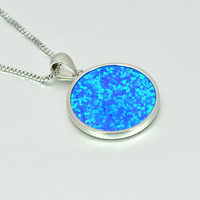 Blue Round lotus Fire Opal Stone Sliver Pendants For Women PJ180219004 4