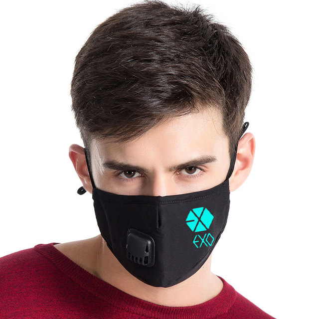 Luminous Fashion Kpop Mouth Mask EXO Xiling Empire Breathing Face Mask Anti PM2.5 Dust Filter Winter Muffle Valved Respirator