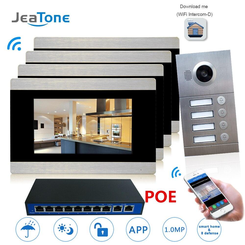 Sonnette vidéo d'interphone vidéo WIFI IP 7 ''écran tactile pour 4 appartements séparés/peut ajouter un capteur d'alarme gaz/fumée/eau
