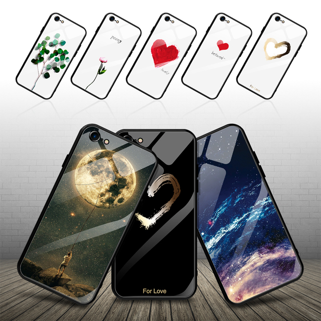 GerTong Tempered Glass Phone Cases For iphone 8 7 6 6S plus X XS Max XR Anti-knock Scenery Glass Back Cover for iphone 7 case