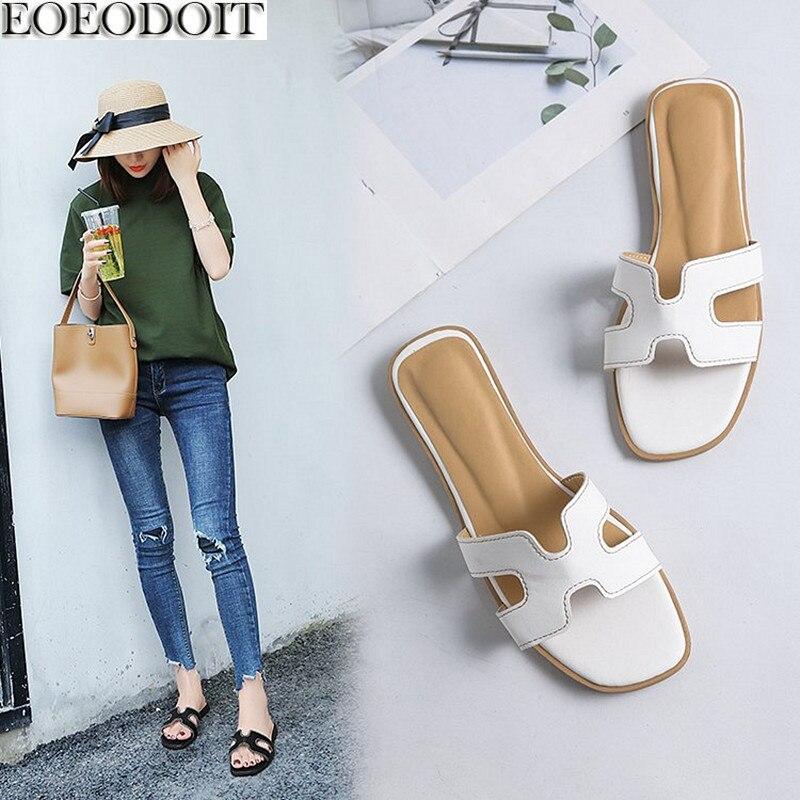 EOEODOIT Для женщин тапочки с открытым носком плоская подошва краткое кожаные летние шлепанцы пляжная обувь 2018 Новые