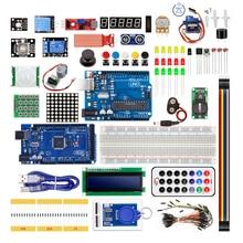 طقم كاتب للوحة Arduino UNO R3 و Mega2560 مع وحدة استشعار 1602 LCD led محرك معزز التتابع التعلم الأساسي