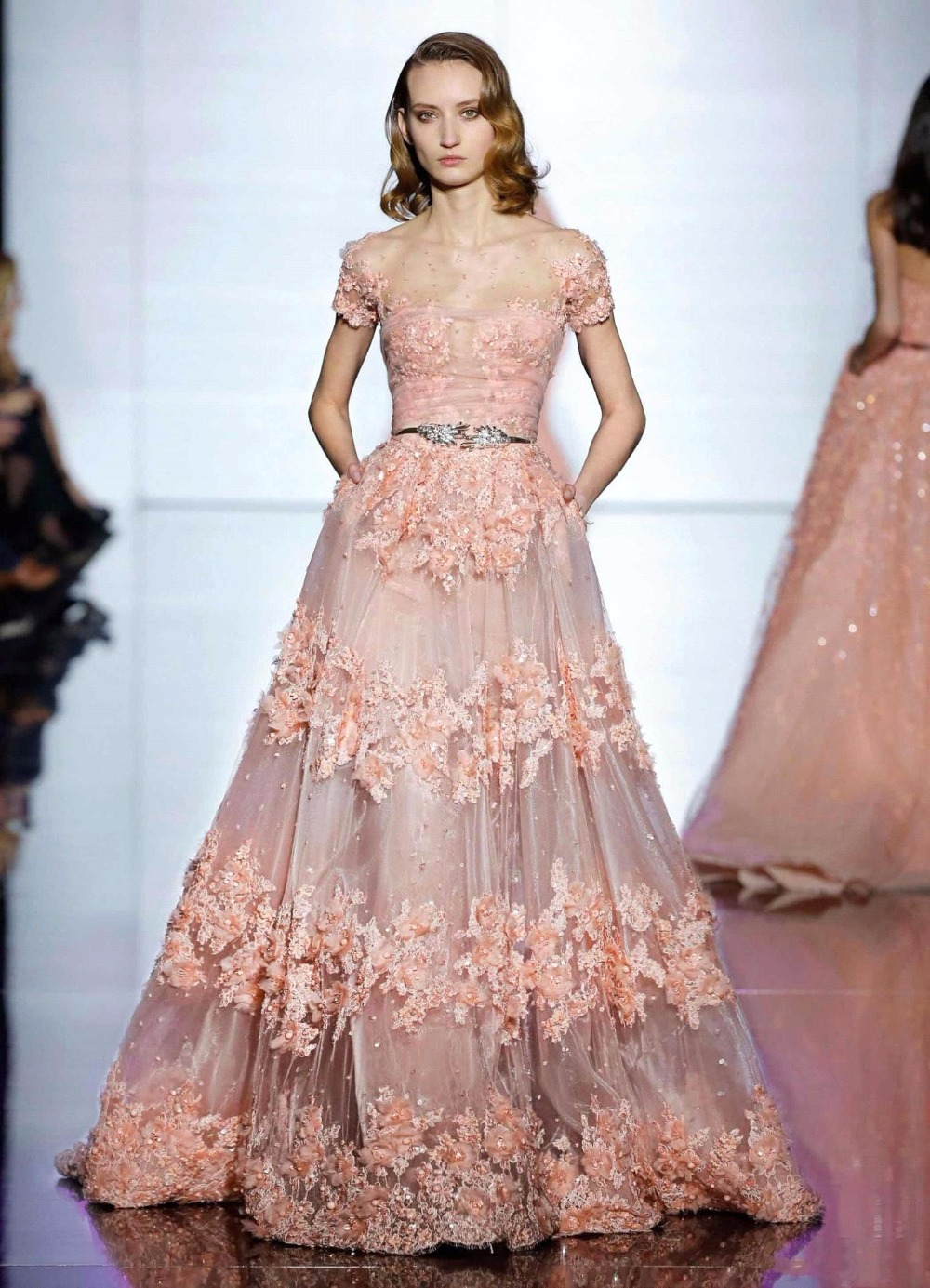 Modest Coral Zuhair Murad Evening Dresses Long Evening Gowns Cap ...