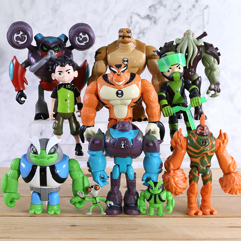 11pcs/set  Ben Grey Matter Heatblast Humongousaur Rath Vilgax PVC Action Figures Kids Toys Gifts