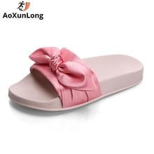 AoXunLong Fenty Rihanna Zapatillas Mujeres Cute Bow Home Slippers Desfile de Moda Desliza Zapatos Planos Mujer Rosa Flip Flop Zapatos Mujer