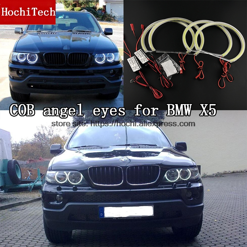 High Quality COB Led Light White Halo Cob Led Angel Eyes Ring Error Free for BMW X5 E53 1999 2000 2001 2002 2003 2004 free shipping vland factory for is200 is300 led headlights 2001 2202 2003 2004 2005 angel eyes plug and play