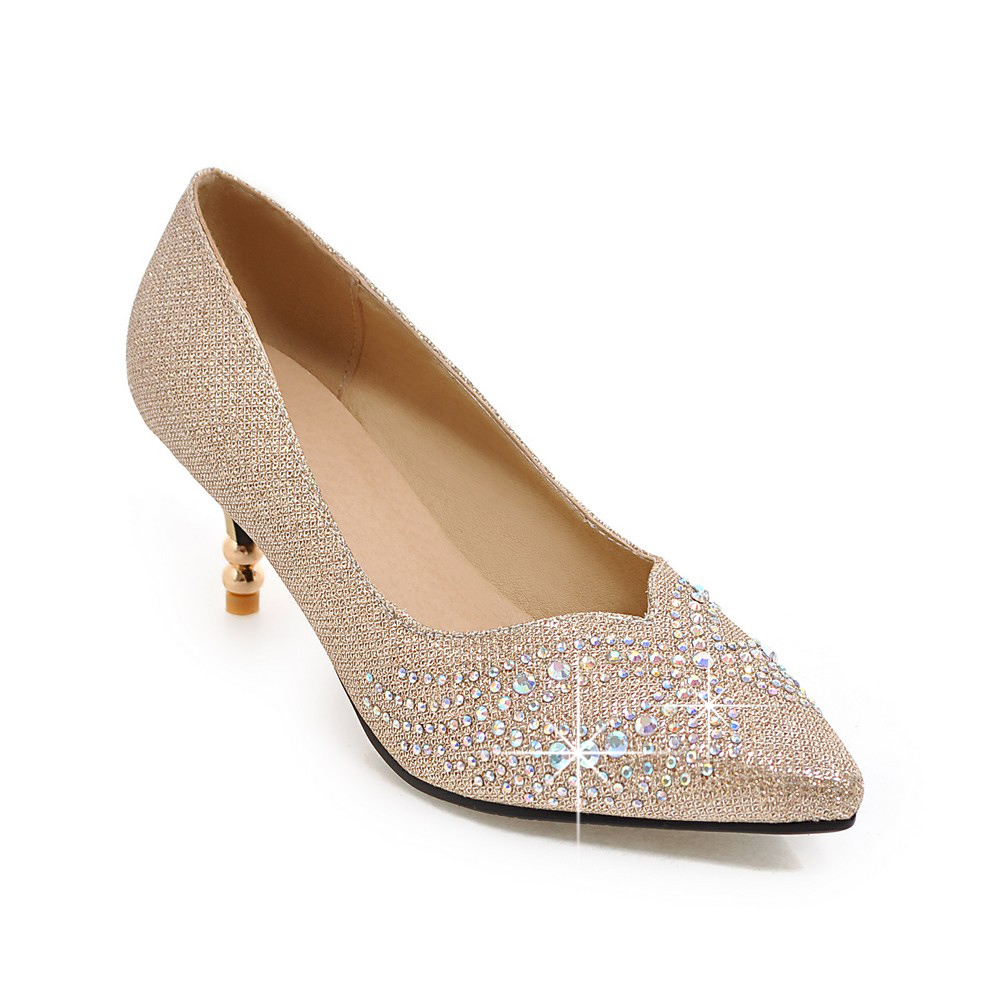 New fashion 6cm thin heel crystal women shoes pumps rhinestone heels gold silver women wedding shoes high heels shoes