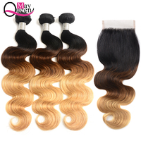 Ombre Peruvian Body Wave Human Hair Bundles With Closure 1b 4 27 Free Part Remy Hair Weave 3 Bundles With Closure May Queen Hair