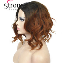 StrongBeauty Short Black/Brown Ombre Bob, Side Part, No Bangs Full Synthetic Wig COLOUR CHOICES