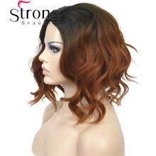 StrongBeauty krótki czarny/brązowy Ombre Bob, przedziałek z boku, bez grzywki pełna peruka syntetyczna wybór kolorów