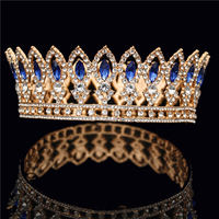 Bride Crown Wedding Tiaras and Crowns Bridal Headdress Blue Crystal Crowns for Queen King Diadem Wedding Hair Jewelry ornaments