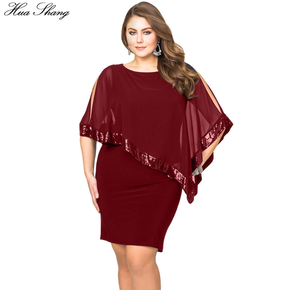 194a936b08 Detail Feedback Questions about 5XL Plus Size Party Dress Women Summer Split  Sleeve Sexy Dresses Sequined Mesh Overlay Poncho Dress Large Size Vestidoa  De ...
