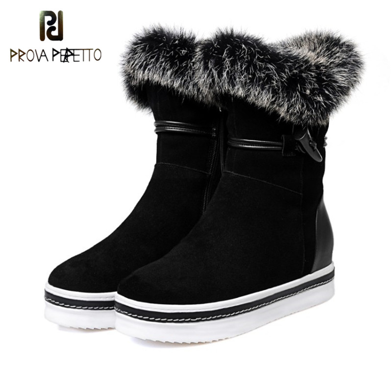Prova Perfetto Winter Fashion Grey Women Short Boots Real Cow Suede Fur Round Toe Mid Heel Boots Comfort Flange Girl Snow Boots prova perfetto warm real cow suede with fur cross tied women knee high snow boots novelty round toe chunky high heel boots