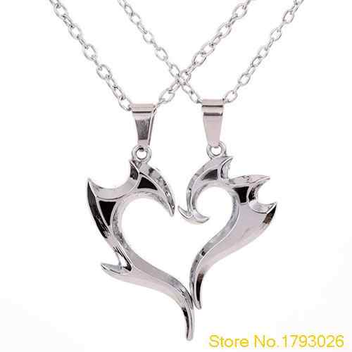 Romantic Heart Magic Wand Pendant Silver Alloy Couple Necklace Chain for Lover's Gift 4TJN