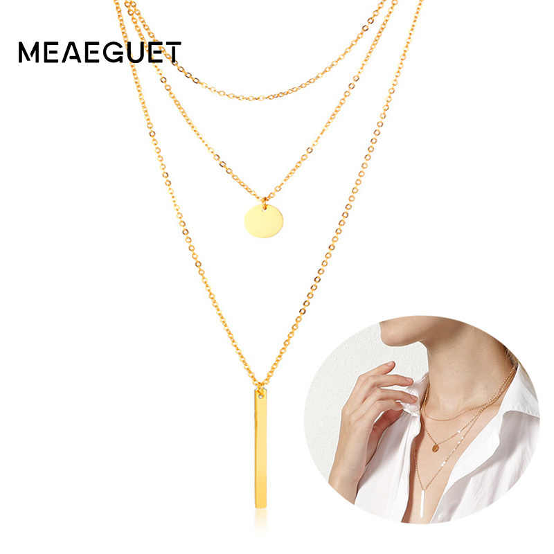 Three Layers Bar Pendant Geometric Multilayer Necklace For Women Gold Color Stainless Steel Charm Bijoux Femme Collier Jewelry