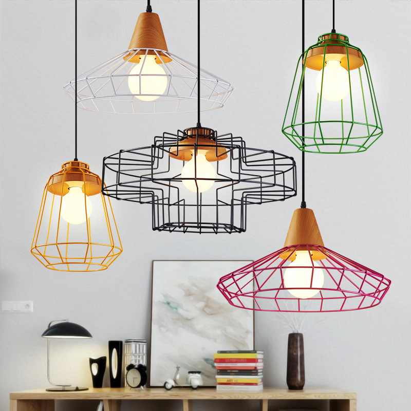 6PCS Fanlive Vintage Iron Wire Bulb Cage Lampshades Hanging Lamp Holder Guard Shade Industrial Home Light Decoration