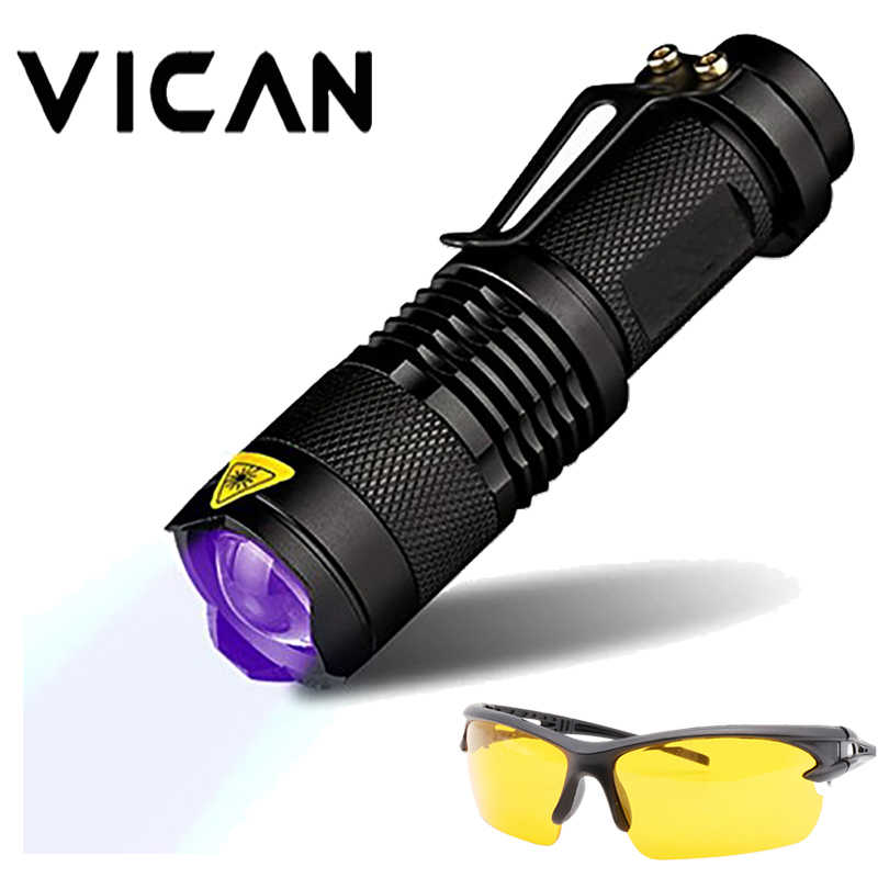 Vica 365nm UV Blacklight Scorpion luz UV Pet Detector de orina, Zoomable 3 Modo 395nm linterna ultravioleta