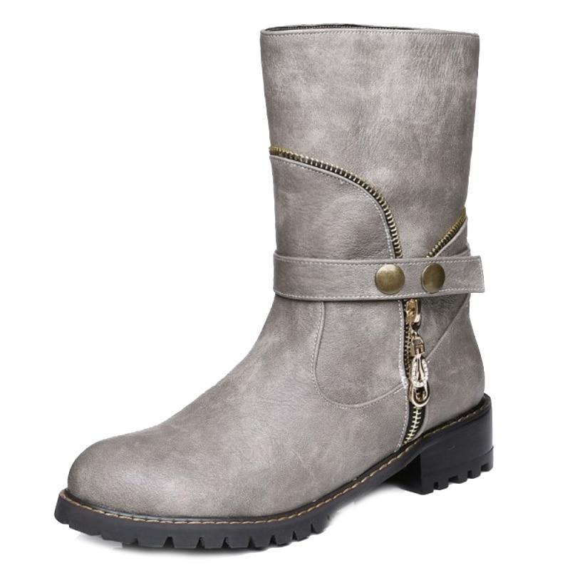Sjjh Martin Chaussures Cuir Grande Casual Noir gris Q140 Femmes Rond Chunky Court Avec Bout Confort Mode Cheville Bottes Souple En Taille Talons orange Nn0wk8OPXZ