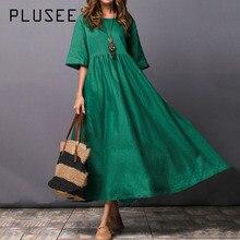 Plusee Dress Plus Size 2XL Women Green Indie Folk Trumpet Ankle-Length Round Neck Standard-Waist Pullover Plain Oversize