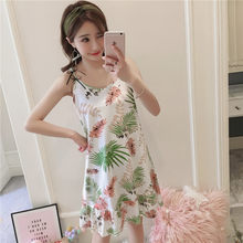 c082410114 2018 New White blue pink Nightgown Sling Printing Solid Color Sleeveless  Nightgown Summer Sleepwear Women AD0239