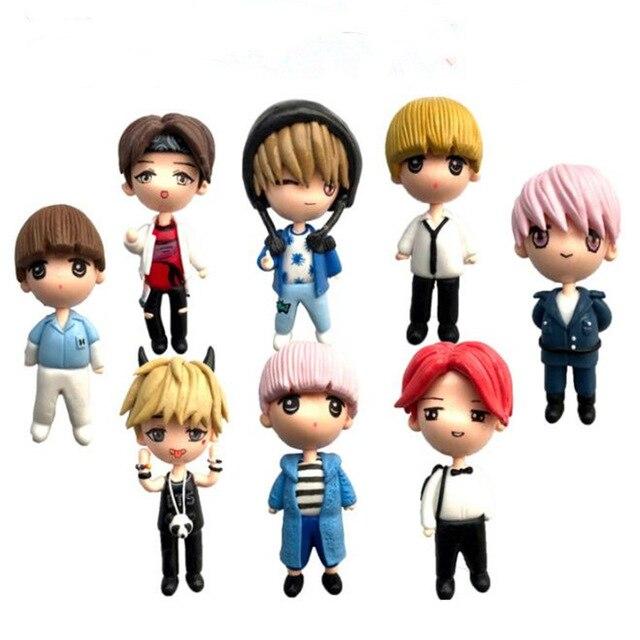 8pcs/set Kpop Bangtan Boys BTS bt21 Figure Toys Collection Model Doll Toys BTS Action Figure Toys Children Gift Children's Toys