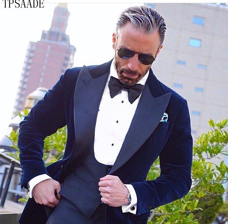 Tuxedos Suits Pant Jacket Formal Velvet Lapel Homme Vest Three-Pieces Peaked Peaked