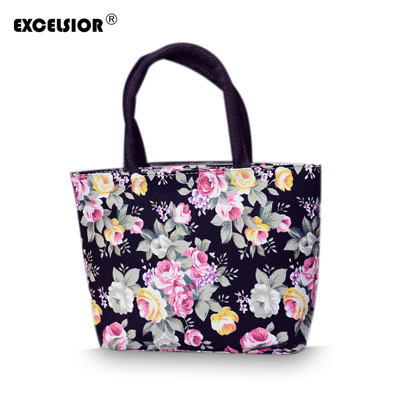 2018 New Lovely Flower Printed Female Tote Bags Small Canvas Handbag Women's Casual Handbag Portable Beach Shopping Bag G0750