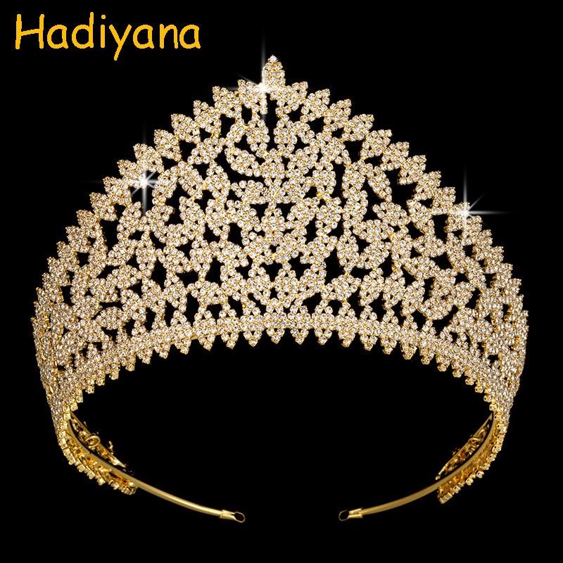 Hadiyana nouvelle mode De Luxe Strass Mariée Diadèmes Princesse Couronne Or Ruban De Mariage De Cuivre Accessoires Pour Femmes Partie BC4039