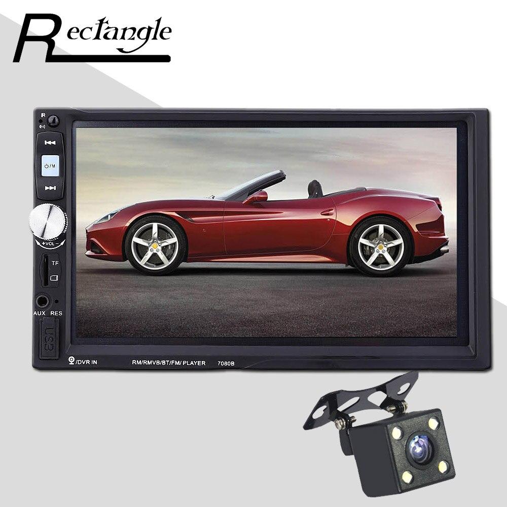 7080B 2 Din Car Mp3 MP5 Player Bluetooth AUX USB FM Steering Wheel Remote Control Touch