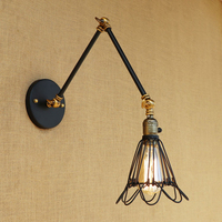 Classic Retro Loft wall lamp iron wire lampshade free to adjust vintage long swing arm for living room bedroom restaurant bar
