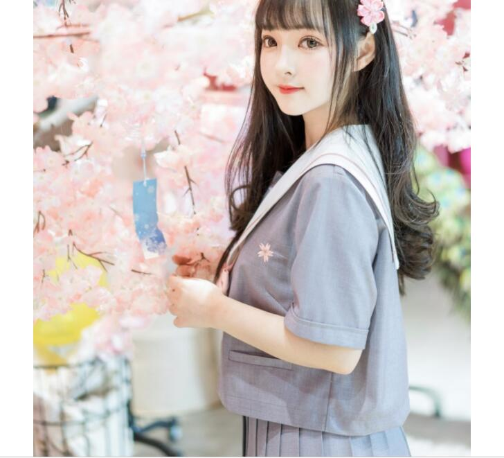 10pcs Japanese Style School Uniform Girls Sakura Embroideried 2019 Spring High School Student Sweet Women Novelty Sailor Suits in School Uniforms from Novelty Special Use