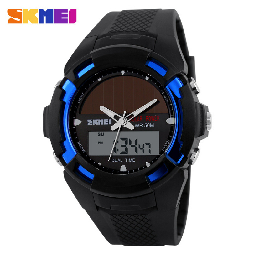 SKMEI Solar Energy Solar Power Watch LED Digital Quartz Waterproof Sport Watches Outdoor Men Military Watch Mens Wrist Watches 0405 multi functions solar power led digital men quartz sport wrist watch black