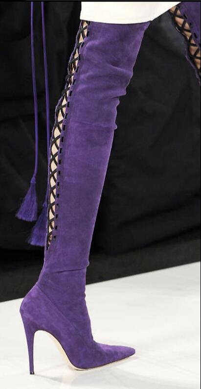 Hot Rome Black Purple Flock Over the Knee Women 39 s Shoes Cross tied Pointed Toe Boots Thin Heels 10 5cm Knight Boots in Over the Knee Boots from Shoes