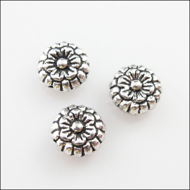 40Pcs Antiqued Silver Tone Flower Round Spacer Beads Charms 6.5mm