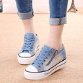 In the spring of   the new low for canvas shoes female side zippers denim heighten students in han edition sponge thick bottom