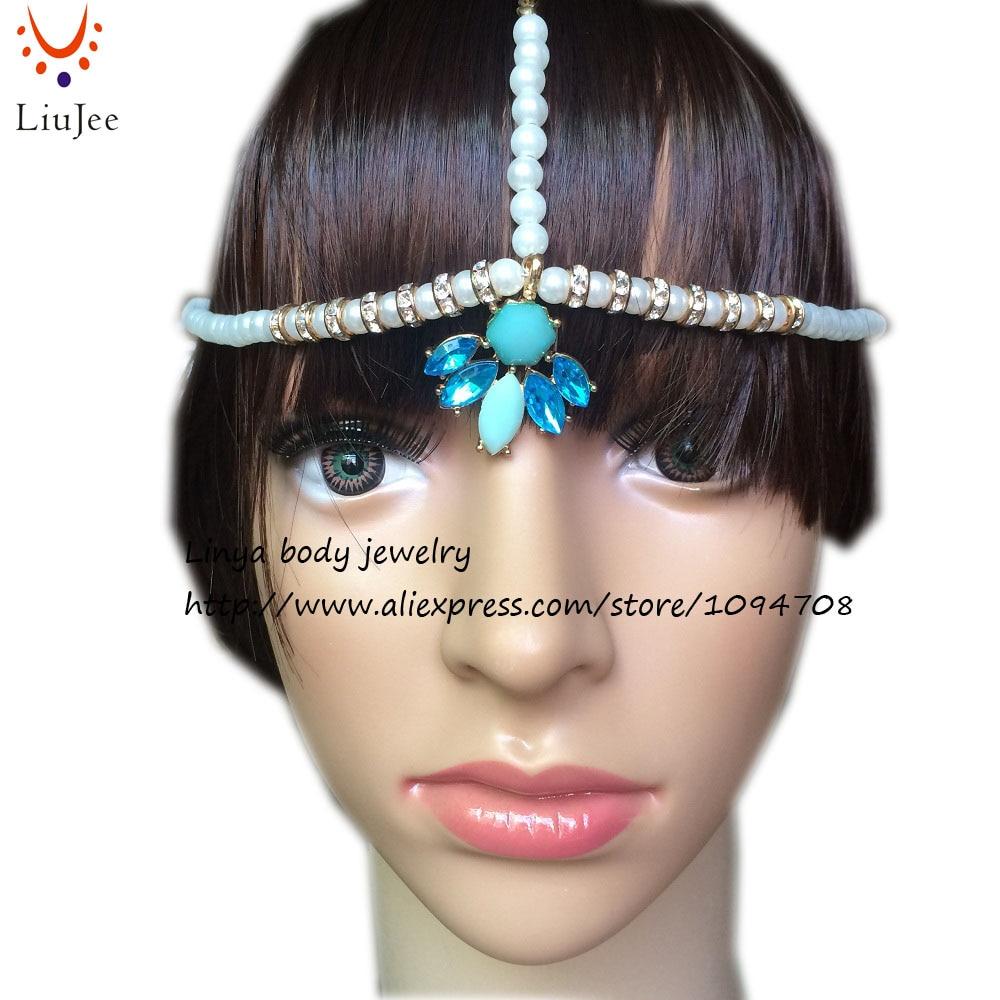 HC 324 Gold color Fake Pearl Head Chain Head Dress Indian Matha ...