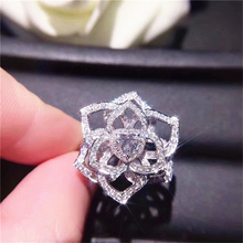 14K White Gold Diamond Ring Flower Anillos Jewelry Gemstone topaz pierscionki Bizuteria for Women 925 Engagement Gemstone Ring