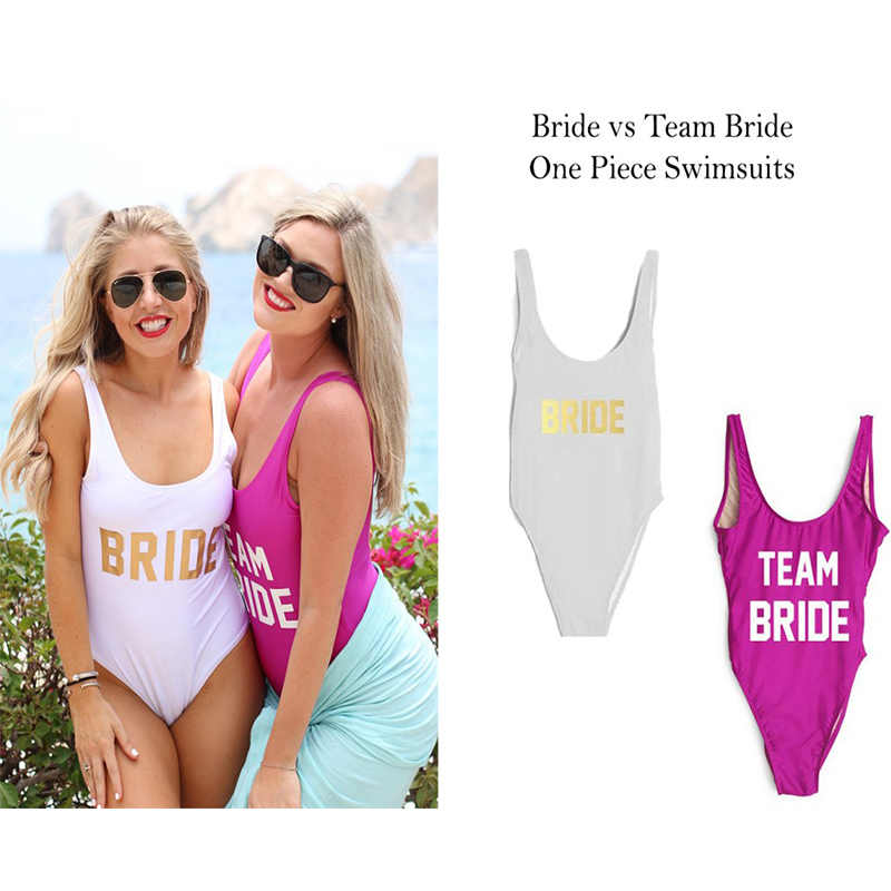 TEAM BRIDE Letter Print One Piece Swimsuit Women Swimwear High Cut Bathing  Suit Sexy Bodysuit Monokini b1a25f592daa