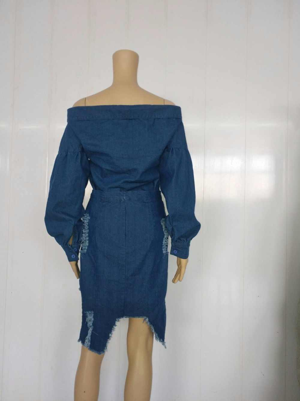 4ea1584936 ... European Foreign Trade Women Dress Sheath Party Cub Dress Off Shoulder  Denim Bodycon Jeans Dresses SY1128