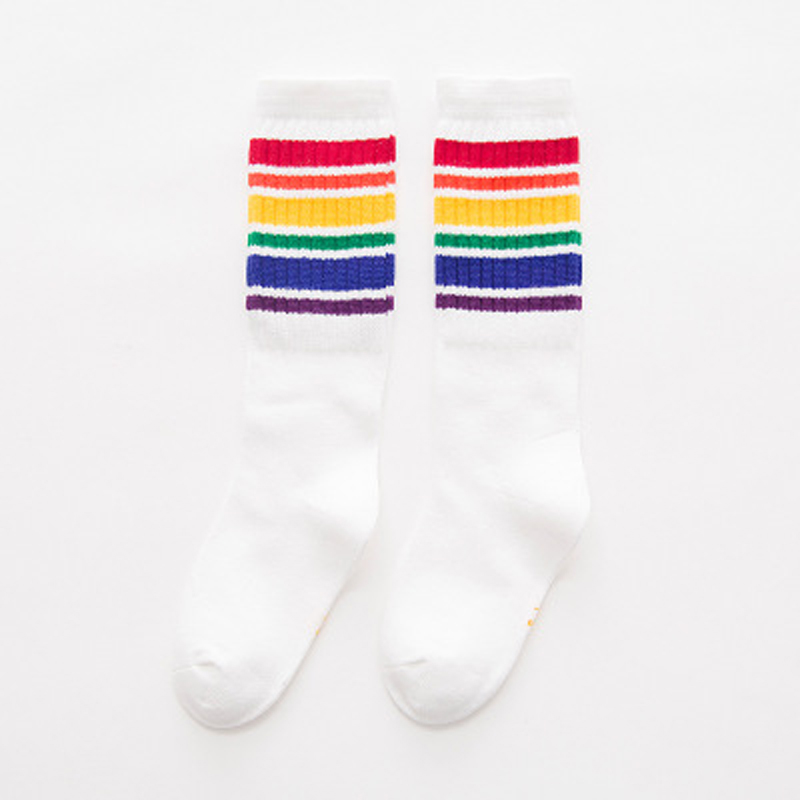 Girls Knee High Socks Kids Boys Football Stripes Cotton Sports School White Socks Skate Children Baby Long Tube Leg Warm
