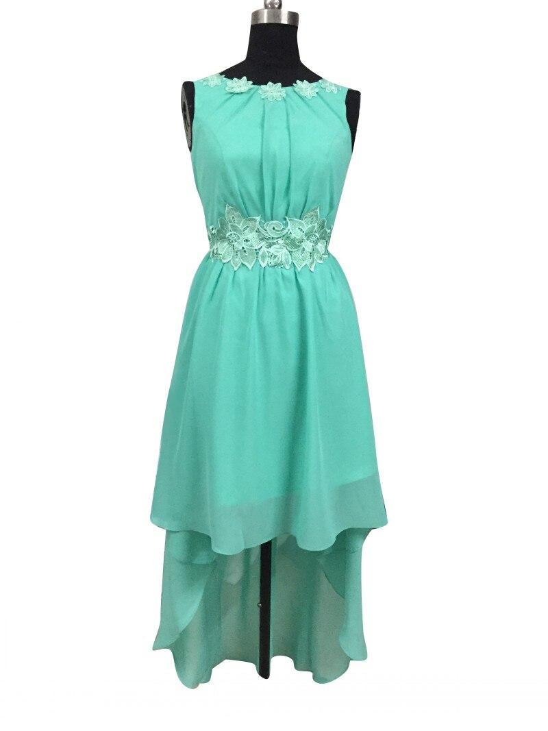 좋은 민트 그린 들러리 드레스 높은 낮은 사용자 정의 크기 보트 넥 등이없는 쉬폰 파티 드레스 핫 디자인